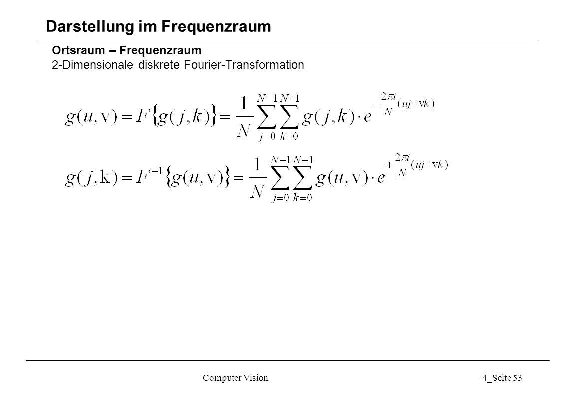 Computer Vision4_Seite 53 Ortsraum – Frequenzraum 2-Dimensionale diskrete Fourier-Transformation Darstellung im Frequenzraum
