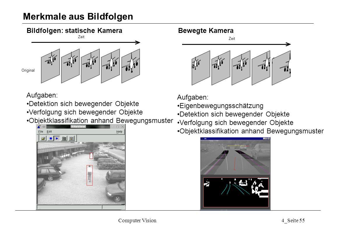 Computer Vision4_Seite 55 Bildfolgen: statische Kamera Bewegte Kamera Merkmale aus Bildfolgen Zeit Original Aufgaben: Detektion sich bewegender Objekt