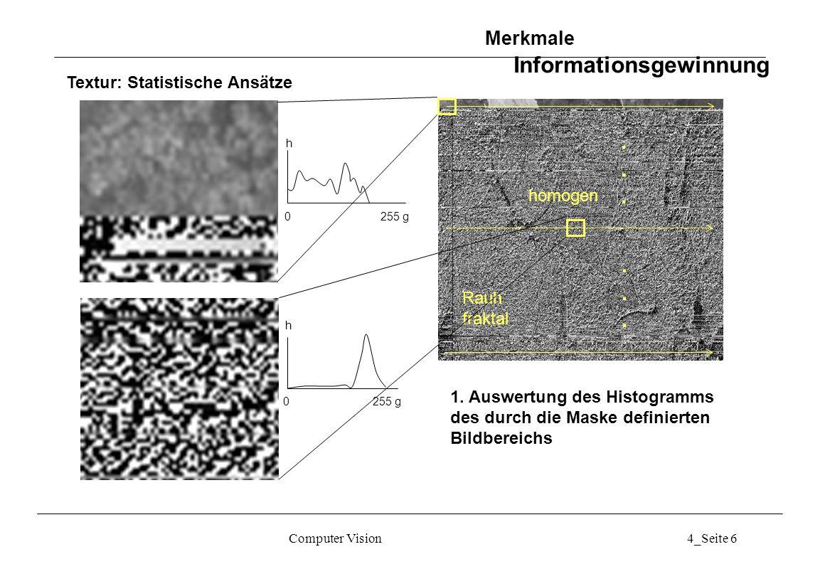 Computer Vision4_Seite 7 Textur: Statistische Ansätze: Momente des Grauwerthistogramms 0 255 g h Wenn L die Anzahl der Grauwerte ist und h(g i ) das Histogramm in der Maske, so sind die n-ten Momente: Das zweite Moment heisst Varianz und wird mit ² bezeichnet.