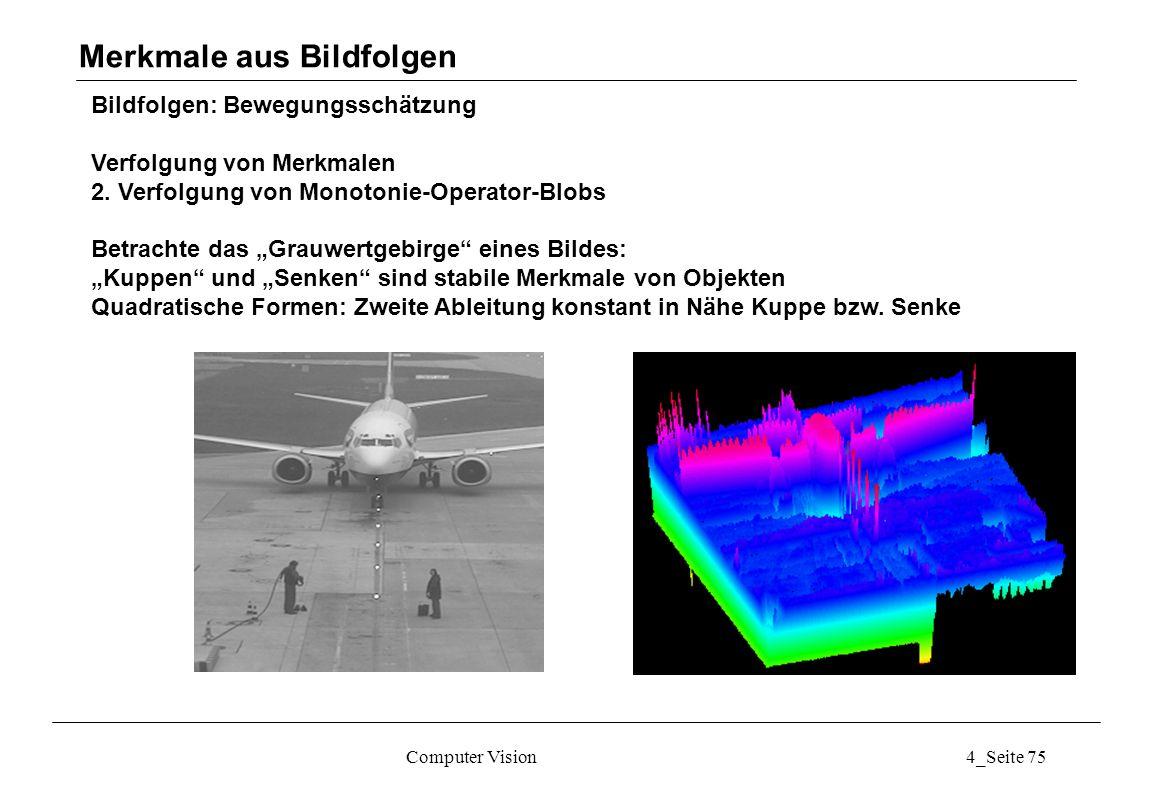 Computer Vision4_Seite 75 Bildfolgen: Bewegungsschätzung Verfolgung von Merkmalen 2. Verfolgung von Monotonie-Operator-Blobs Betrachte das Grauwertgeb