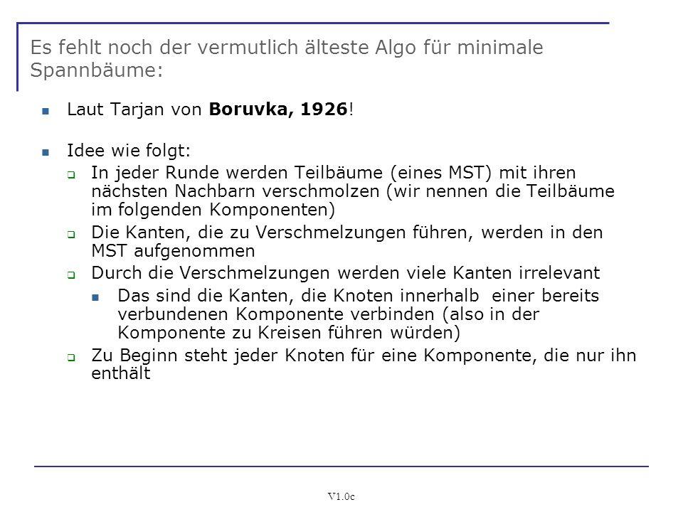 V1.0c Es fehlt noch der vermutlich älteste Algo für minimale Spannbäume: Laut Tarjan von Boruvka, 1926! Idee wie folgt: In jeder Runde werden Teilbäum