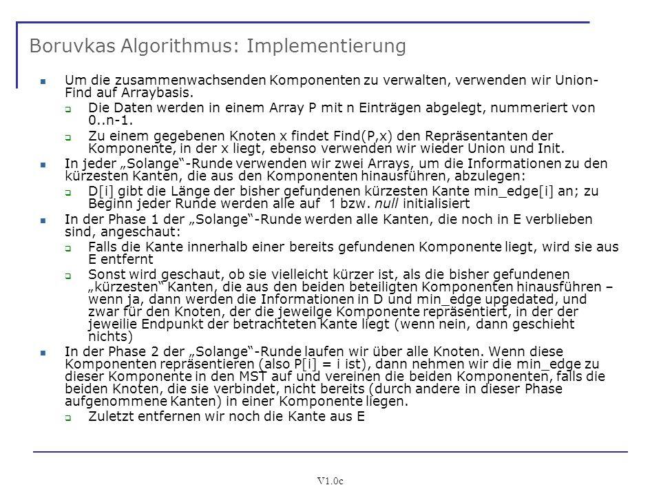 V1.0c Boruvkas Algorithmus: Implementierung Um die zusammenwachsenden Komponenten zu verwalten, verwenden wir Union- Find auf Arraybasis. Die Daten we