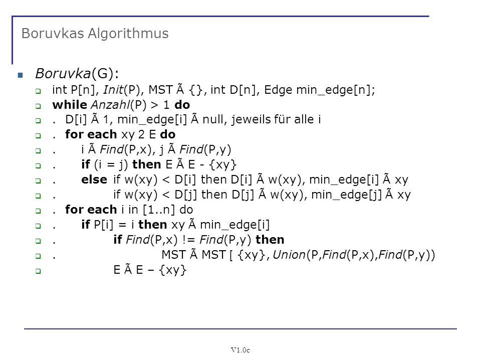 V1.0c Boruvkas Algorithmus Boruvka(G): int P[n], Init(P), MST Ã {}, int D[n], Edge min_edge[n]; while Anzahl(P) > 1 do. D[i] Ã 1, min_edge[i] Ã null,