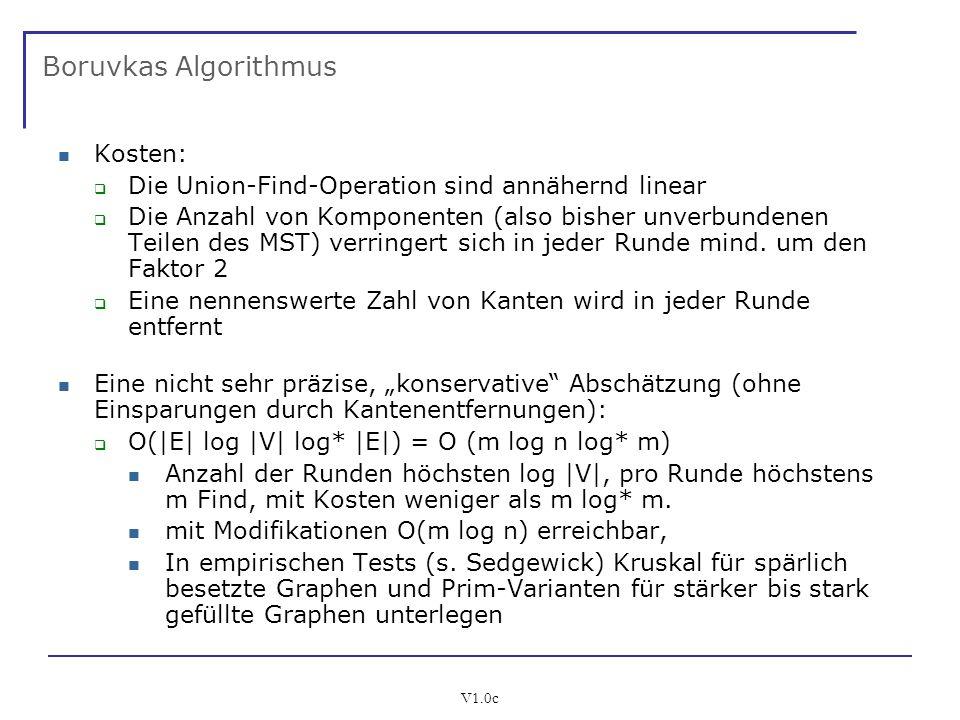 V1.0c Boruvkas Algorithmus Kosten: Die Union-Find-Operation sind annähernd linear Die Anzahl von Komponenten (also bisher unverbundenen Teilen des MST
