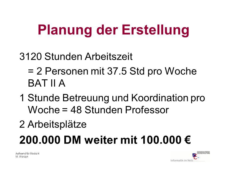Aufwand für Modul 4 M. Worzyk Planung der Erstellung 3120 Stunden Arbeitszeit = 2 Personen mit 37.5 Std pro Woche BAT II A 1 Stunde Betreuung und Koor