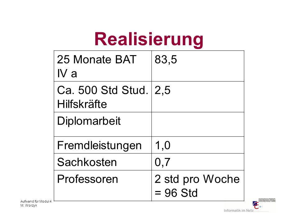 Aufwand für Modul 4 M. Worzyk Realisierung 25 Monate BAT IV a 83,5 Ca. 500 Std Stud. Hilfskräfte 2,5 Diplomarbeit Fremdleistungen1,0 Sachkosten0,7 Pro