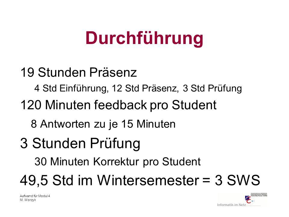 Aufwand für Modul 4 M. Worzyk Durchführung 19 Stunden Präsenz 4 Std Einführung, 12 Std Präsenz, 3 Std Prüfung 120 Minuten feedback pro Student 8 Antwo