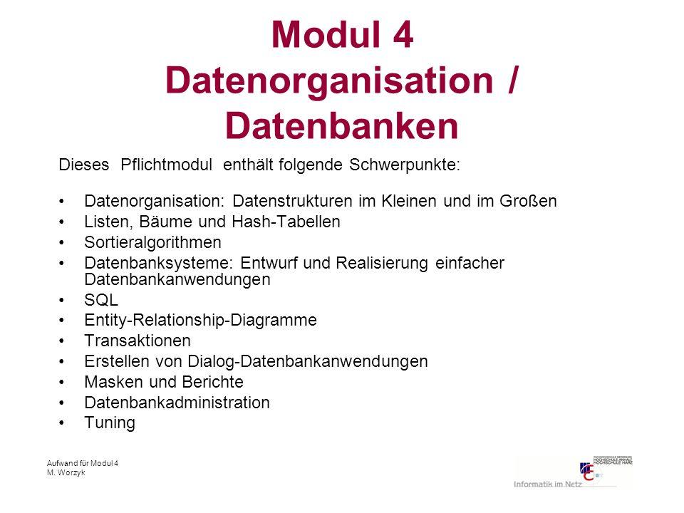 Aufwand für Modul 4 M. Worzyk Modul 4 Datenorganisation / Datenbanken Dieses Pflichtmodul enthält folgende Schwerpunkte: Datenorganisation: Datenstruk