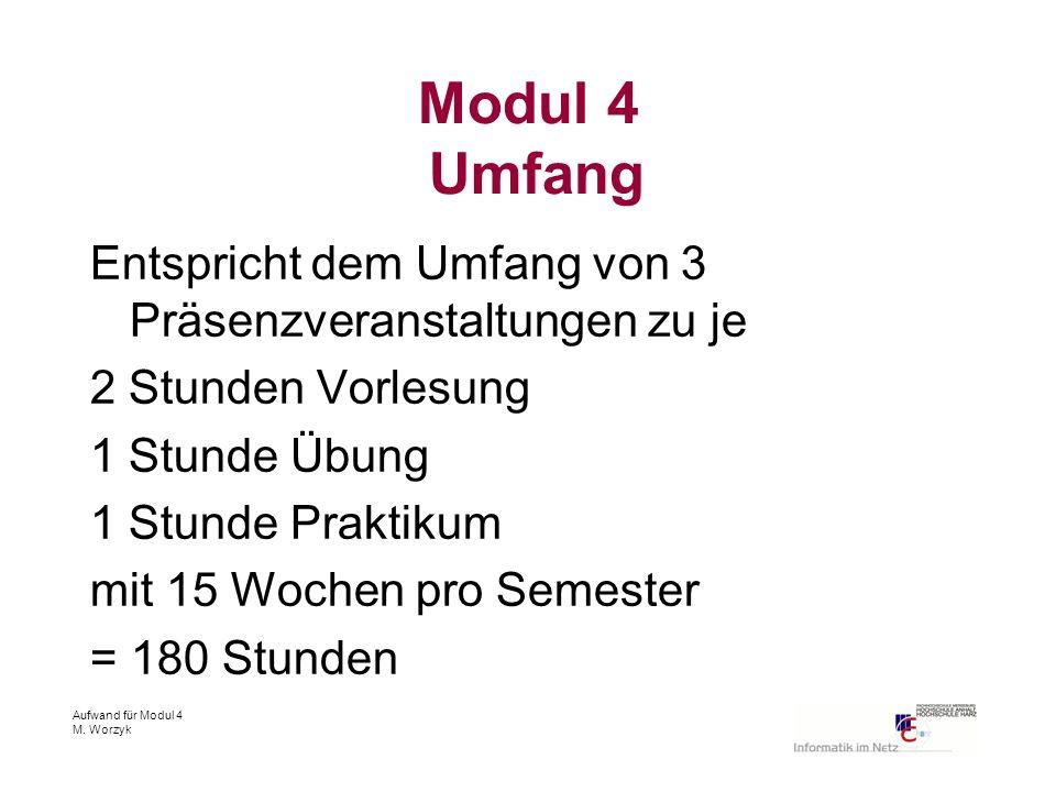 Aufwand für Modul 4 M. Worzyk Modul 4 Umfang Entspricht dem Umfang von 3 Präsenzveranstaltungen zu je 2 Stunden Vorlesung 1 Stunde Übung 1 Stunde Prak