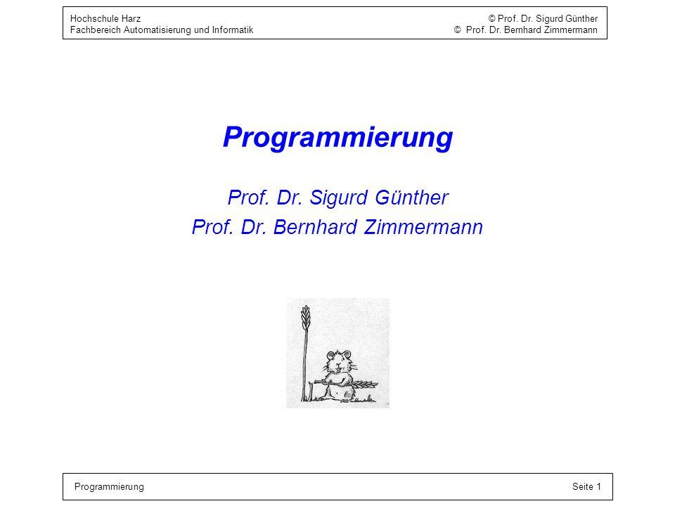 ProgrammierungSeite 1 Hochschule Harz © Prof. Dr. Sigurd Günther Fachbereich Automatisierung und Informatik © Prof. Dr. Bernhard Zimmermann Programmie