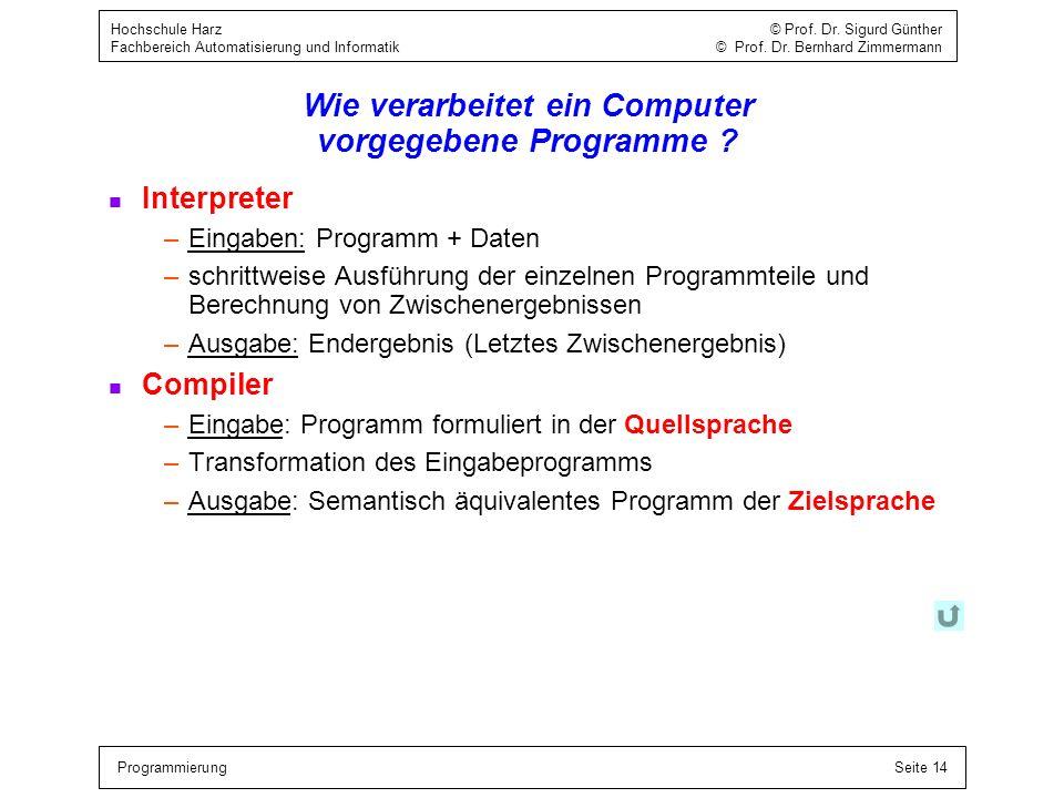ProgrammierungSeite 14 Hochschule Harz © Prof. Dr. Sigurd Günther Fachbereich Automatisierung und Informatik © Prof. Dr. Bernhard Zimmermann Wie verar