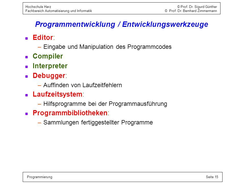 ProgrammierungSeite 15 Hochschule Harz © Prof. Dr. Sigurd Günther Fachbereich Automatisierung und Informatik © Prof. Dr. Bernhard Zimmermann Programme