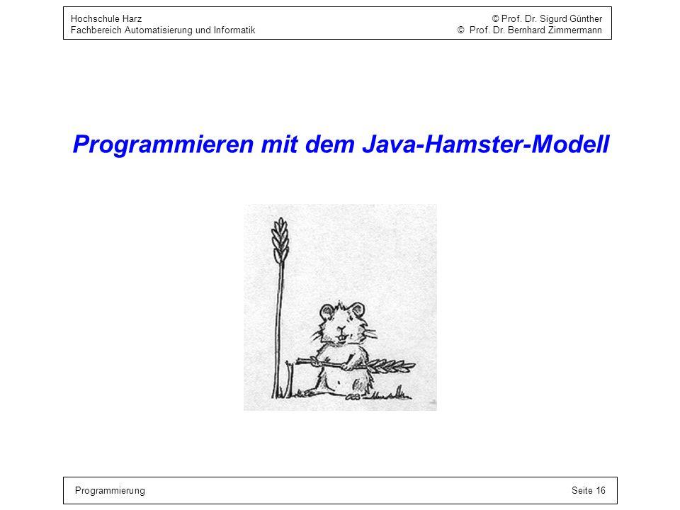 ProgrammierungSeite 16 Hochschule Harz © Prof. Dr. Sigurd Günther Fachbereich Automatisierung und Informatik © Prof. Dr. Bernhard Zimmermann Programmi
