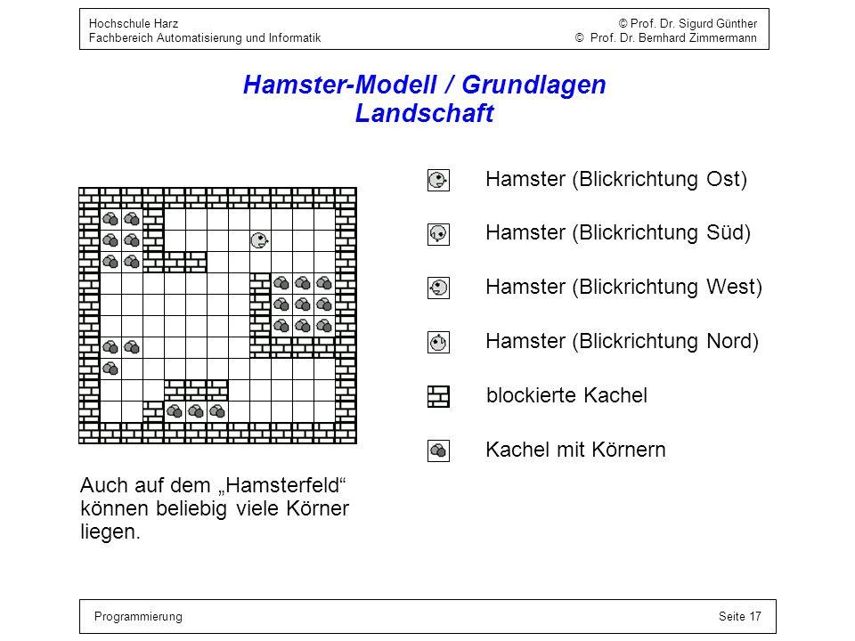 ProgrammierungSeite 17 Hochschule Harz © Prof. Dr. Sigurd Günther Fachbereich Automatisierung und Informatik © Prof. Dr. Bernhard Zimmermann Hamster-M