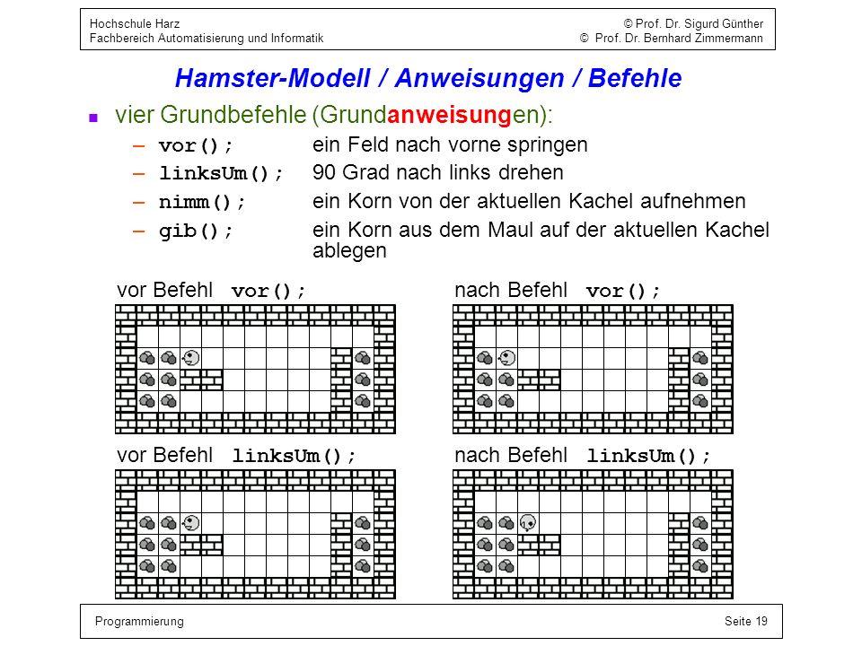 ProgrammierungSeite 19 Hochschule Harz © Prof. Dr. Sigurd Günther Fachbereich Automatisierung und Informatik © Prof. Dr. Bernhard Zimmermann Hamster-M