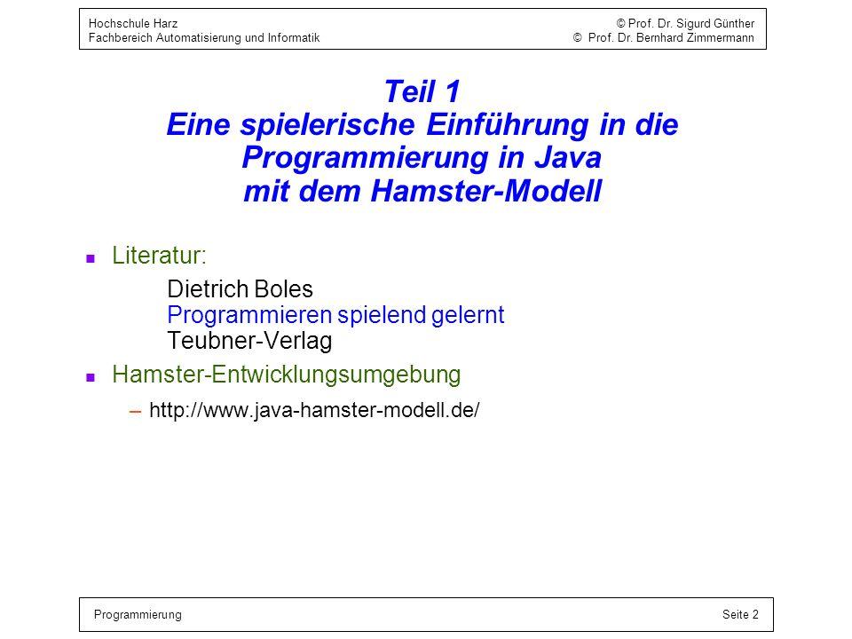 ProgrammierungSeite 2 Hochschule Harz © Prof. Dr. Sigurd Günther Fachbereich Automatisierung und Informatik © Prof. Dr. Bernhard Zimmermann Teil 1 Ein