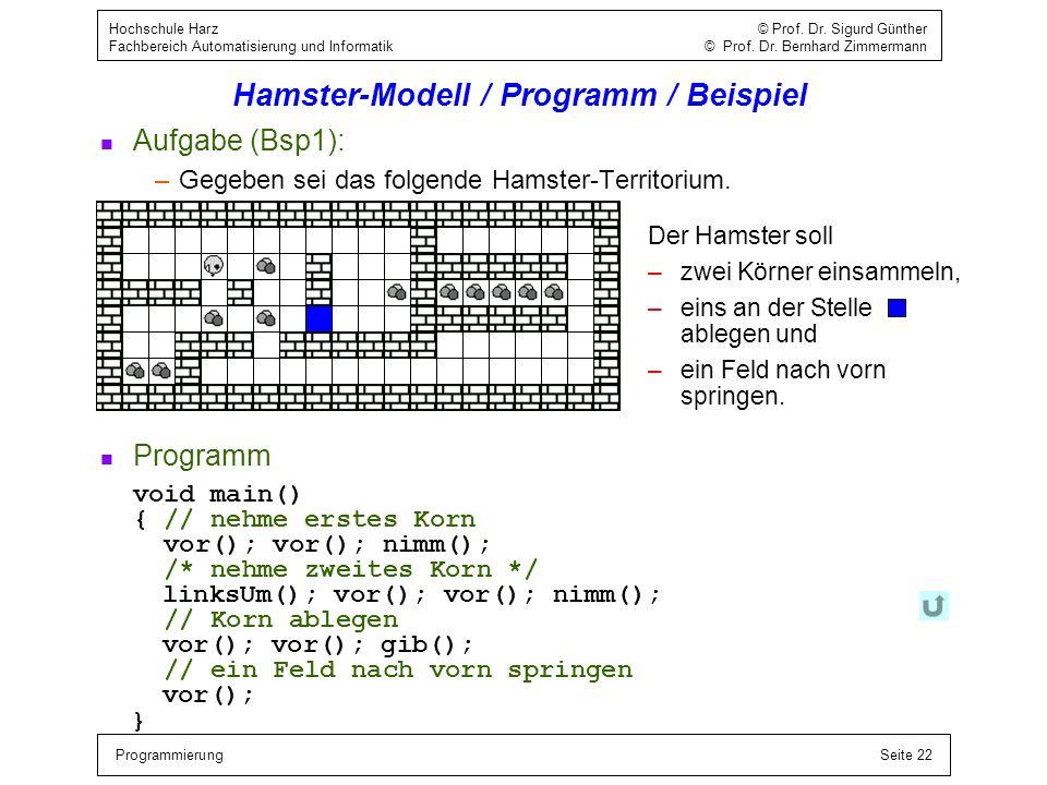 ProgrammierungSeite 22 Hochschule Harz © Prof. Dr. Sigurd Günther Fachbereich Automatisierung und Informatik © Prof. Dr. Bernhard Zimmermann Hamster-M