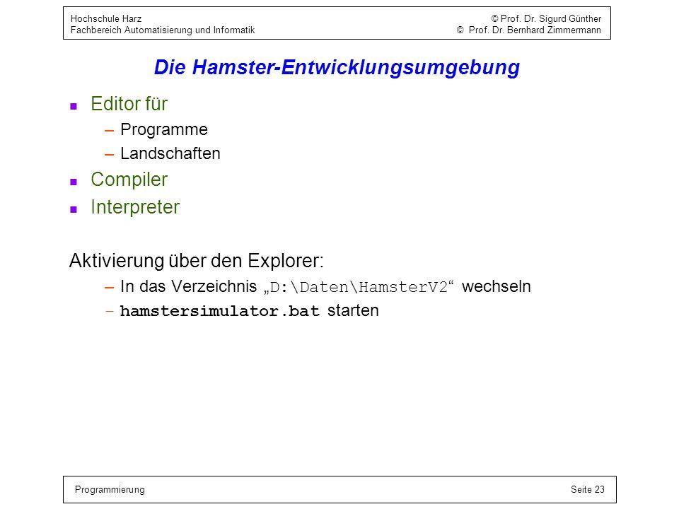 ProgrammierungSeite 23 Hochschule Harz © Prof. Dr. Sigurd Günther Fachbereich Automatisierung und Informatik © Prof. Dr. Bernhard Zimmermann Die Hamst