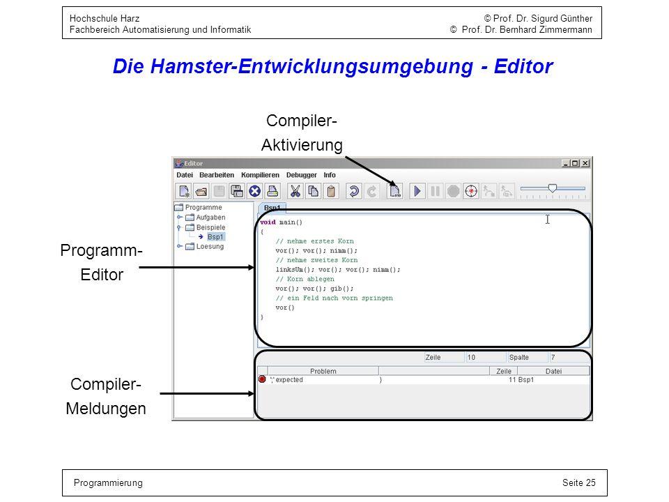 ProgrammierungSeite 25 Hochschule Harz © Prof. Dr. Sigurd Günther Fachbereich Automatisierung und Informatik © Prof. Dr. Bernhard Zimmermann Die Hamst