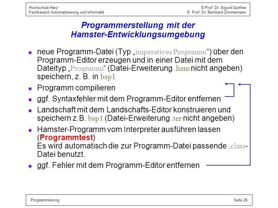 ProgrammierungSeite 26 Hochschule Harz © Prof. Dr. Sigurd Günther Fachbereich Automatisierung und Informatik © Prof. Dr. Bernhard Zimmermann Programme