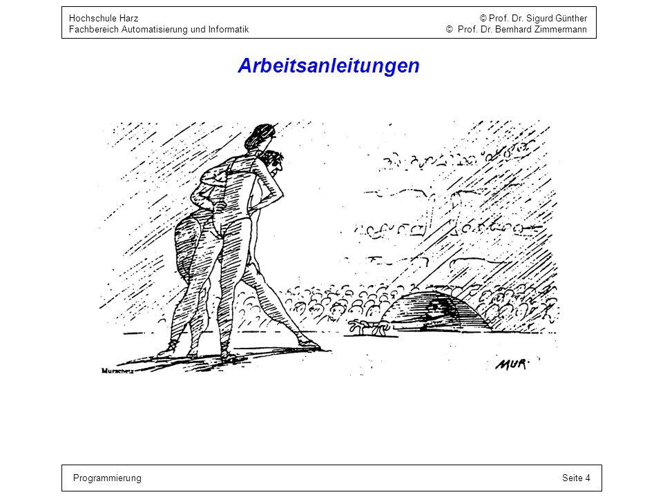 ProgrammierungSeite 4 Hochschule Harz © Prof. Dr. Sigurd Günther Fachbereich Automatisierung und Informatik © Prof. Dr. Bernhard Zimmermann Arbeitsanl