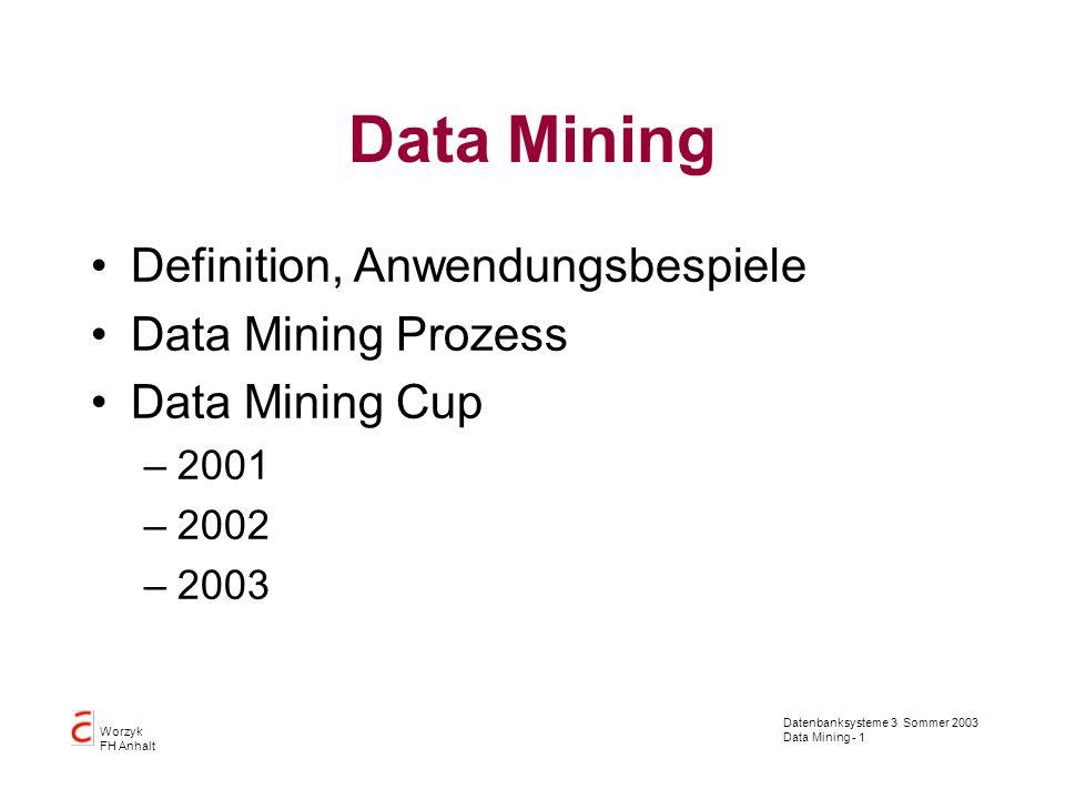 Datenbanksysteme 3 Sommer 2003 Data Mining - 1 Worzyk FH Anhalt Data Mining Definition, Anwendungsbespiele Data Mining Prozess Data Mining Cup –2001 –