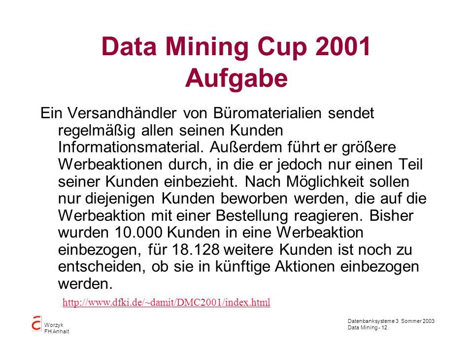 Datenbanksysteme 3 Sommer 2003 Data Mining - 12 Worzyk FH Anhalt Data Mining Cup 2001 Aufgabe Ein Versandhändler von Büromaterialien sendet regelmäßig