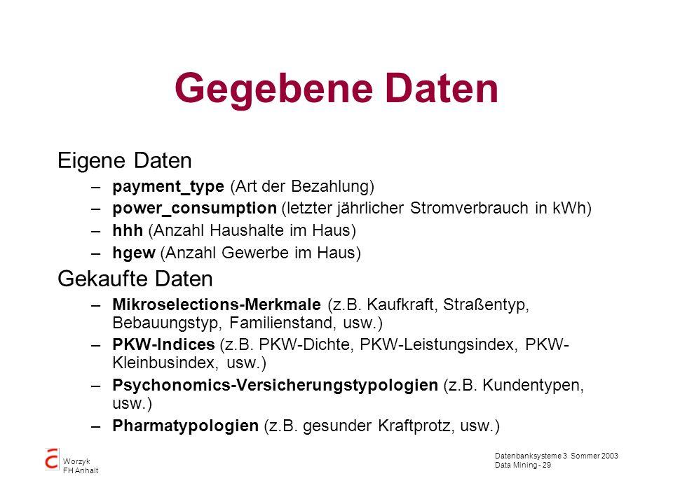 Datenbanksysteme 3 Sommer 2003 Data Mining - 29 Worzyk FH Anhalt Gegebene Daten Eigene Daten –payment_type (Art der Bezahlung) –power_consumption (let