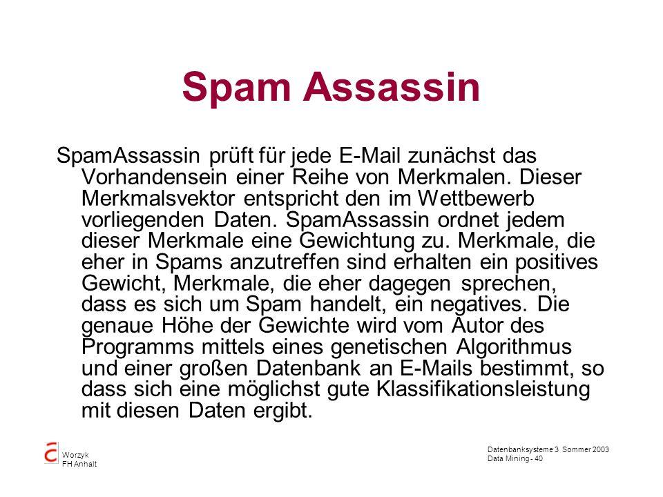 Datenbanksysteme 3 Sommer 2003 Data Mining - 40 Worzyk FH Anhalt Spam Assassin SpamAssassin prüft für jede E-Mail zunächst das Vorhandensein einer Rei