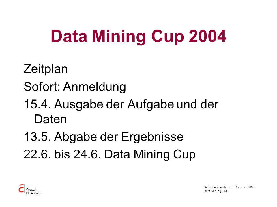Datenbanksysteme 3 Sommer 2003 Data Mining - 43 Worzyk FH Anhalt Data Mining Cup 2004 Zeitplan Sofort: Anmeldung 15.4. Ausgabe der Aufgabe und der Dat