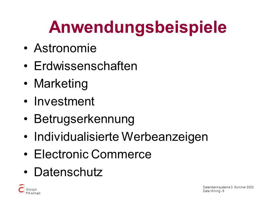 Datenbanksysteme 3 Sommer 2003 Data Mining - 6 Worzyk FH Anhalt Anwendungsbeispiele Astronomie Erdwissenschaften Marketing Investment Betrugserkennung