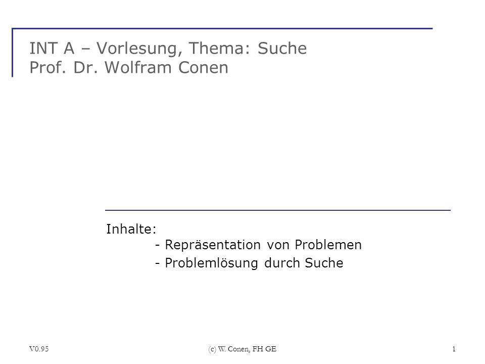 V0.95(c) W. Conen, FH GE1 INT A – Vorlesung, Thema: Suche Prof. Dr. Wolfram Conen Inhalte: - Repräsentation von Problemen - Problemlösung durch Suche