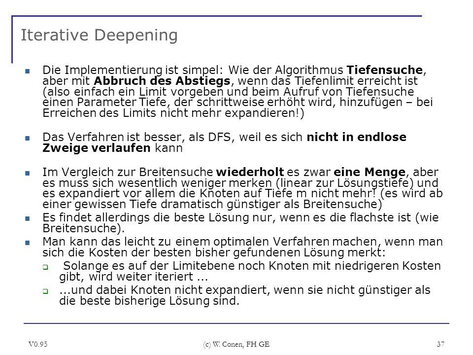 V0.95 (c) W. Conen, FH GE 37 Iterative Deepening Die Implementierung ist simpel: Wie der Algorithmus Tiefensuche, aber mit Abbruch des Abstiegs, wenn