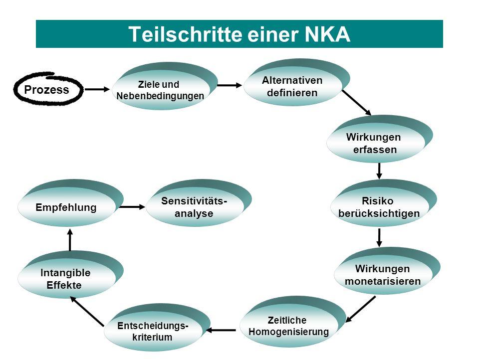 Teilschritte einer NKA Entscheidungs- kriterium Prozess Zeitliche Homogenisierung Intangible Effekte Empfehlung Sensitivitäts- analyse Risiko berücksi