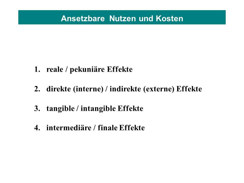 Ansetzbare Nutzen und Kosten 1.reale / pekuniäre Effekte 2.direkte (interne) / indirekte (externe) Effekte 3.tangible / intangible Effekte 4.intermedi