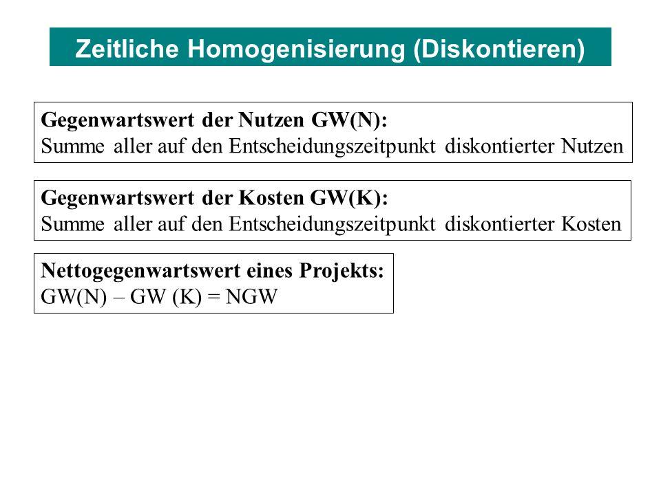 Gegenwartswert der Nutzen GW(N): Summe aller auf den Entscheidungszeitpunkt diskontierter Nutzen Gegenwartswert der Kosten GW(K): Summe aller auf den