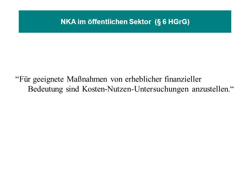NKA im öffentlichen Sektor (§ 6 HGrG) Für geeignete Maßnahmen von erheblicher finanzieller Bedeutung sind Kosten-Nutzen-Untersuchungen anzustellen.