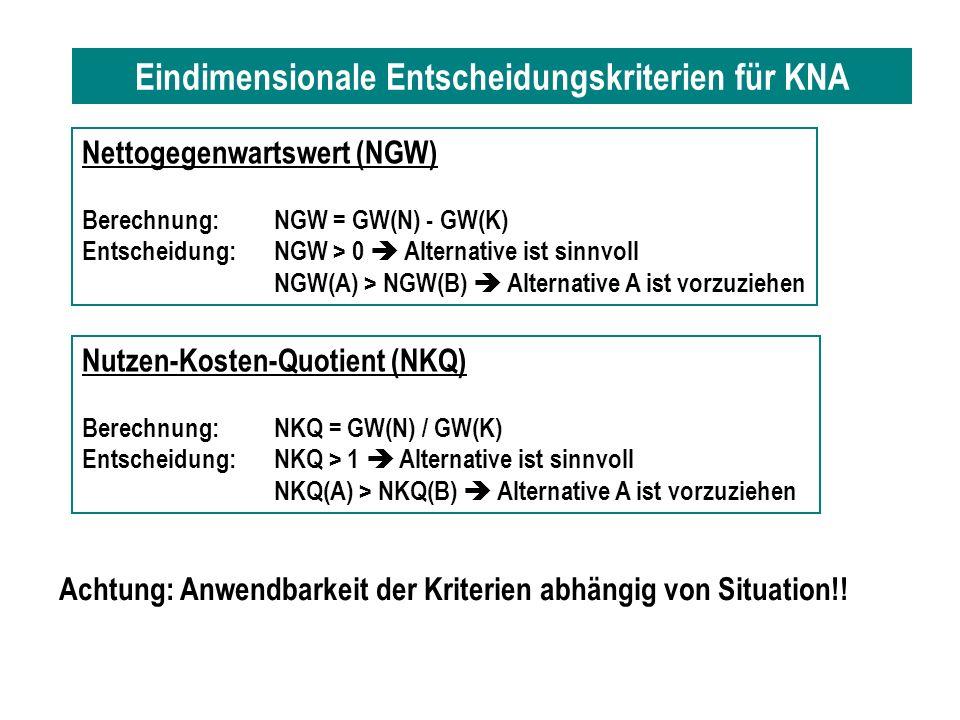 Eindimensionale Entscheidungskriterien für KNA Nettogegenwartswert (NGW) Berechnung:NGW = GW(N) - GW(K) Entscheidung:NGW > 0 Alternative ist sinnvoll