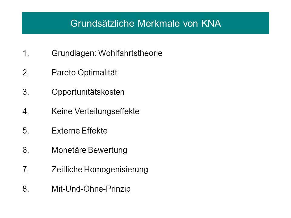 Grundsätzliche Merkmale von KNA 1.Grundlagen: Wohlfahrtstheorie 2.Pareto Optimalität 3.Opportunitätskosten 4. Keine Verteilungseffekte 5. Externe Effe