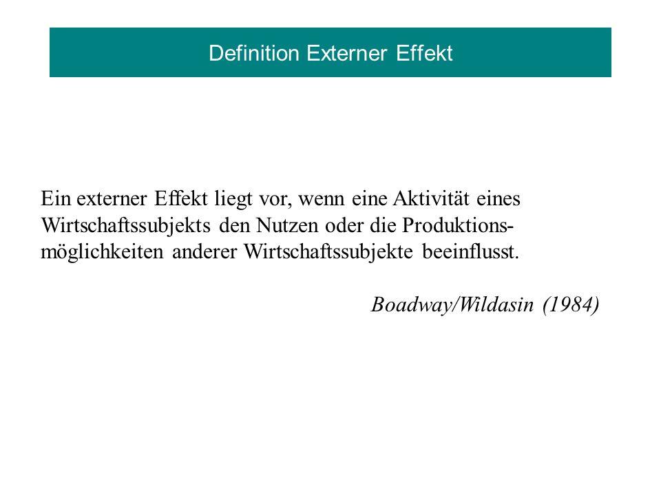 Definition Externer Effekt Ein externer Effekt liegt vor, wenn eine Aktivität eines Wirtschaftssubjekts den Nutzen oder die Produktions- möglichkeiten