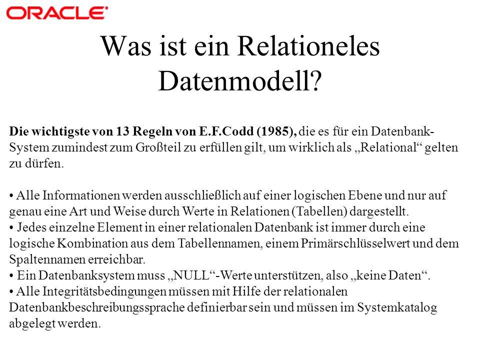 Was ist ein Relationeles Datenmodell? Die wichtigste von 13 Regeln von E.F.Codd (1985), die es für ein Datenbank- System zumindest zum Großteil zu erf