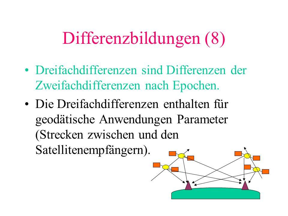 Differenzbildungen (8) Dreifachdifferenzen sind Differenzen der Zweifachdifferenzen nach Epochen. Die Dreifachdifferenzen enthalten für geodätische An