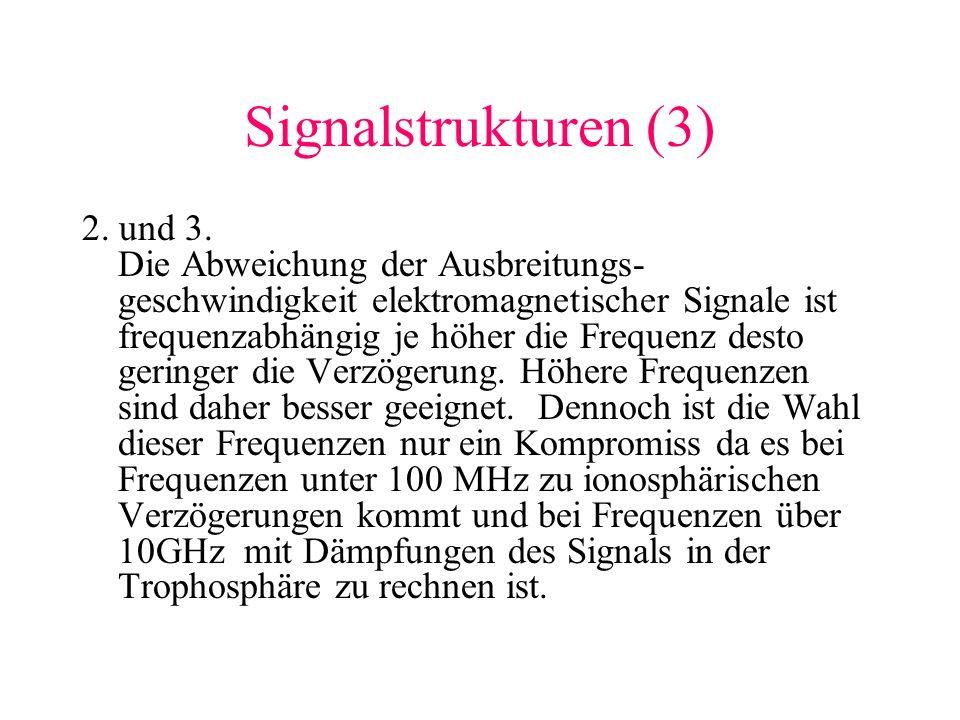Signalstrukturen (3) 2. und 3. Die Abweichung der Ausbreitungs- geschwindigkeit elektromagnetischer Signale ist frequenzabhängig je höher die Frequenz