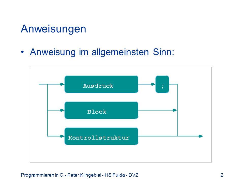 Programmieren in C - Peter Klingebiel - HS Fulda - DVZ13 Selektionen 6 Mehrfache Alternative if … else if … else if (ausdruck_1) anweisung_1 else if(ausdruck_2) anweisung_2 else if(ausdruck_3) anweisung_3 else if (ausdruck_n) anweisung_n......
