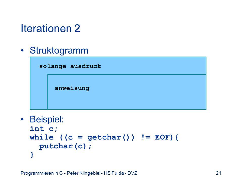 Programmieren in C - Peter Klingebiel - HS Fulda - DVZ21 Iterationen 2 Struktogramm Beispiel: int c; while ((c = getchar()) != EOF){ putchar(c); }