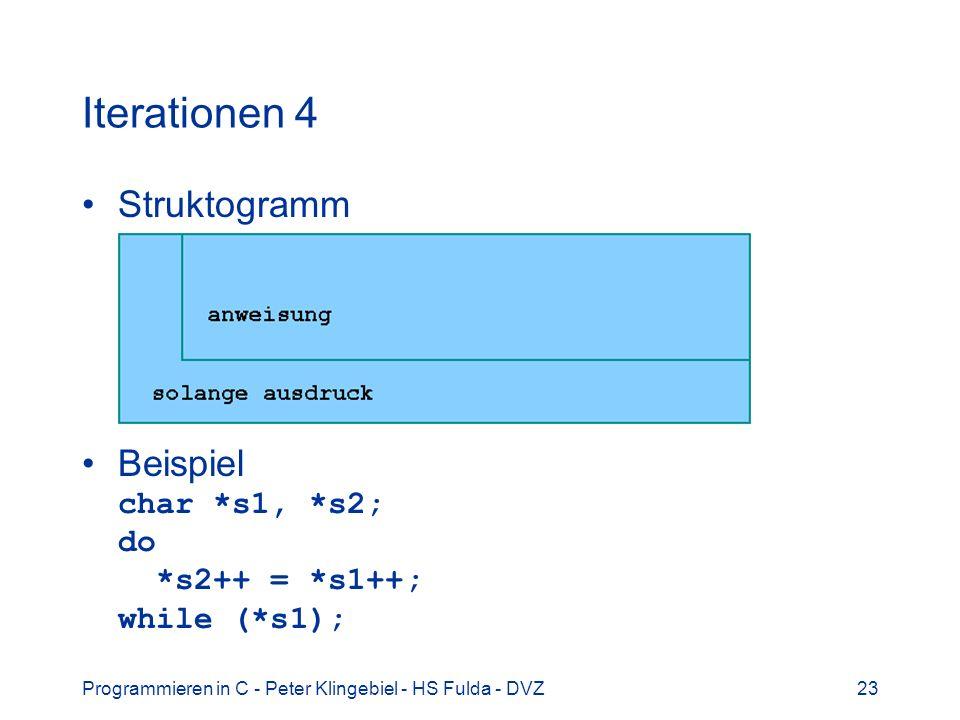 Programmieren in C - Peter Klingebiel - HS Fulda - DVZ23 Iterationen 4 Struktogramm Beispiel char *s1, *s2; do *s2++ = *s1++; while (*s1);