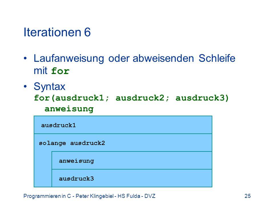 Programmieren in C - Peter Klingebiel - HS Fulda - DVZ25 Iterationen 6 Laufanweisung oder abweisenden Schleife mit for Syntax for(ausdruck1; ausdruck2