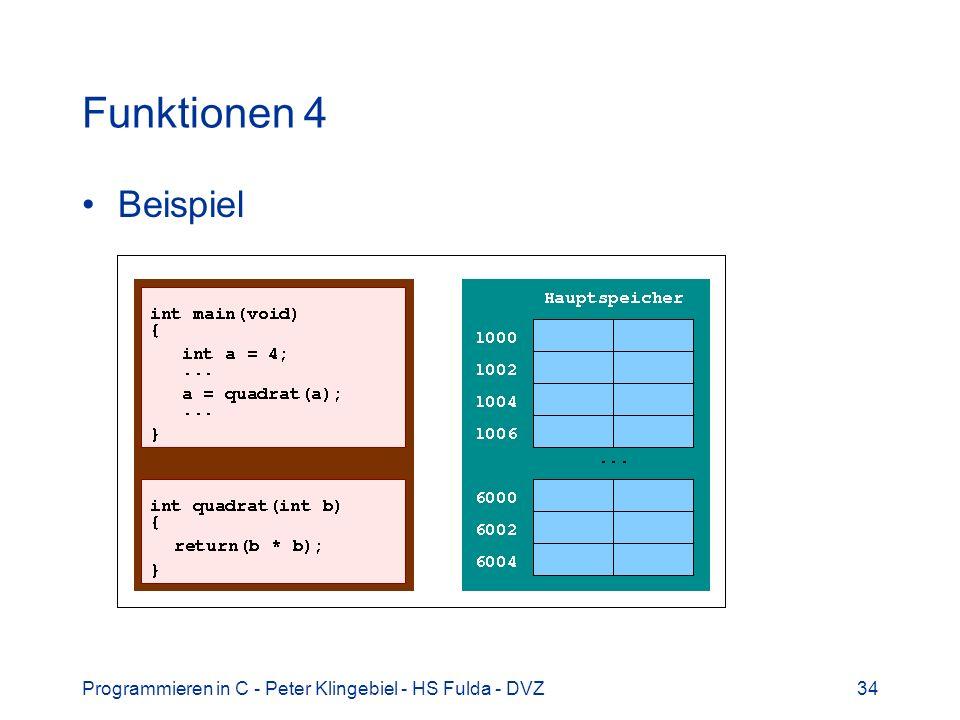 Programmieren in C - Peter Klingebiel - HS Fulda - DVZ34 Funktionen 4 Beispiel