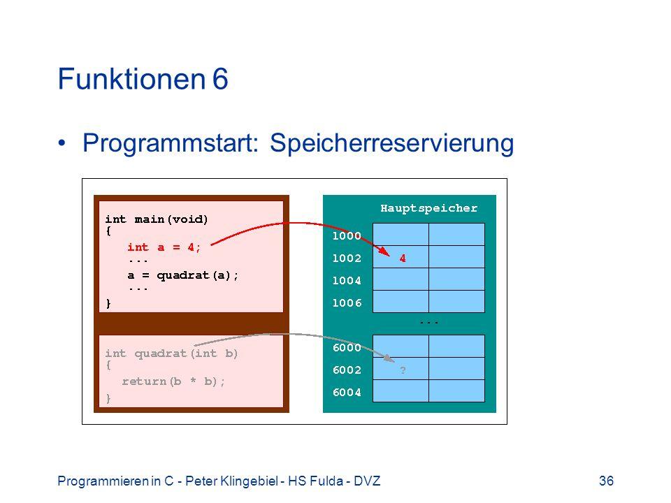 Programmieren in C - Peter Klingebiel - HS Fulda - DVZ36 Funktionen 6 Programmstart: Speicherreservierung
