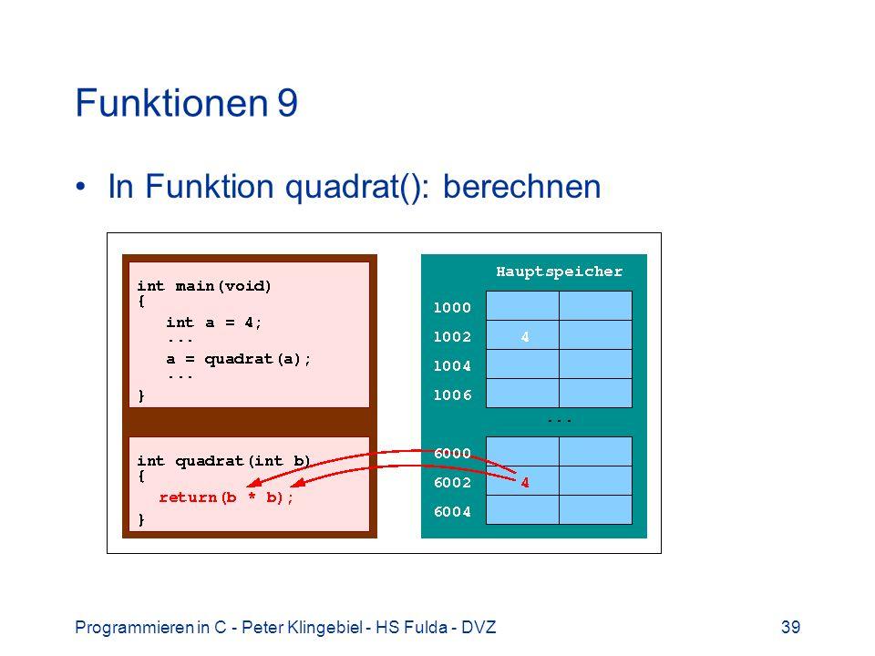 Programmieren in C - Peter Klingebiel - HS Fulda - DVZ39 Funktionen 9 In Funktion quadrat(): berechnen